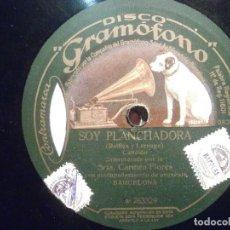 Discos de pizarra: DISCO PIZARRA GRAMÓFONO W 263328/9 - CARMEN FLORES - SOY PLANCHAORA - COLÓN COLÓN. Lote 206939356