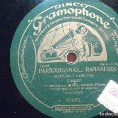Discos de pizarra: DISCO PIZARRA GRAMÓPHONE W 263271/2 - CARMEN FLORES - LA DUQUESA TORERA - PARROQUIANAS...RABANITOS. Lote 206939812