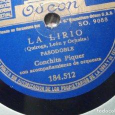 Dischi in gommalacca: DISCO DE PIZARRA - ODEON 184.512 - CONCHITA PIQUER - LA LIRIO - TATUAJE. Lote 206945248