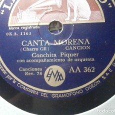 Discos de pizarra: DISCO DE PIZARRA - LA VOZ DE SU AMO AA 362 - CONCHITA PIQUER - CANTA MORENA, ¡ LA GUAPA, GUAPA!. Lote 206945476