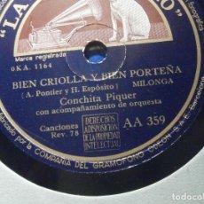 Discos de pizarra: DISCO PIZARRA - LA VOZ DE SU AMO AA 359 - CONCHITA PIQUER - BIEN CRIOLLA Y BIEN PORTEÑA, LA AUSENCIA. Lote 206945677