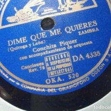 Discos de pizarra: DISCO PIZARRA - LA VOZ DE SU AMO DA 4338 - CONCHITA PIQUER - ALMUDENA, DIME QUE ME QUIERES. Lote 206946166