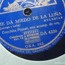 Discos de pizarra: PIZARRA - LA VOZ DE SU AMO DA 4330 - CONCHITA PIQUER - ME DA MIEDO DE LA LUNA, ZAPATITOS DE CHAROL. Lote 206946441