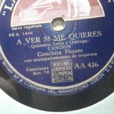 Discos de pizarra: PIZARRA - LA VOZ DE SU AMO AA 426 - CONCHITA PIQUER - A VER SI ME QUIERES, QUIERO UN PAÑOLITO. Lote 206946636
