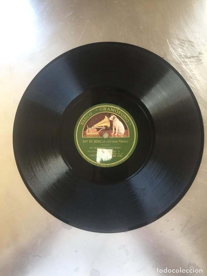 DISCO PIZARRA CARMEN FLORES. SOY DE SEVILLA - PASEO DE GRACIA (Música - Discos - Pizarra - Flamenco, Canción española y Cuplé)