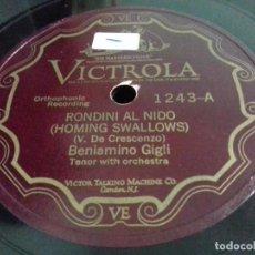 Discos de pizarra: BENIAMINO GIGLI- RONDINI AL NIDO/ TORNA AMORE- VICTROLA- N°1243. Lote 207126672