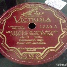 Discos de pizarra: BENIAMINO GIGLI- MEFISTOFELE / MEFISTOFELE- VICTROLA- N°1239- OPERA. Lote 207127335