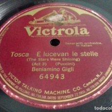 Discos de pizarra: BENIAMINO GIGLI- TOSCA E LUCEVAN LE STELLE/ ONE FACE- VICTROLA - N°64943. Lote 207127683