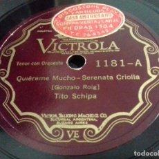 Discos de pizarra: TITO SCHIPA- QUIEREME MUCHO/ A LA ORILLA DE UN PALMAR- VICTROLA- N°1181. Lote 207128197