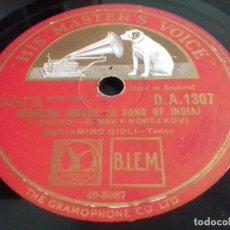 Discos de pizarra: BENIAMINO GIGLI- TENOR- CHANSON INDOUE/ TRISTE MAGGIO- HIS MASTER'S VOICE-N°1307. Lote 207128702