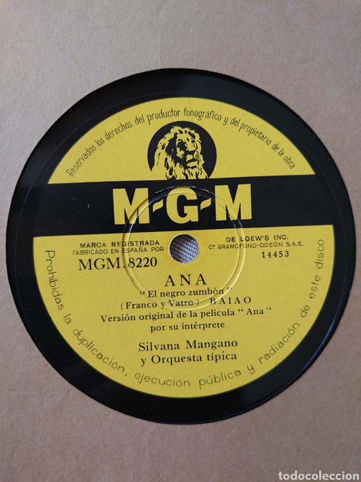 SILVANA MANGANO DISCO DE PIZARRA SELLO M-G-M DE LA PELÍCULA ANA EL NEGRO ZUMBON Y... (Música - Discos - Pizarra - Bandas Sonoras y Actores )