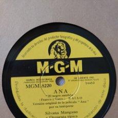 Dischi in gommalacca: SILVANA MANGANO DISCO DE PIZARRA SELLO M-G-M DE LA PELÍCULA ANA EL NEGRO ZUMBON Y.... Lote 208077203