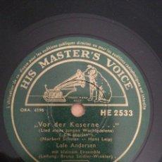 Discos de pizarra: DISCO DE PIZARRA 78RPM-LALE ANDERSEN- LILI MARLEN-LIED EINES JUNGEN WACHTPOSTENS/DREI ROTE ROSEN. Lote 208126125