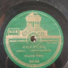 Discos de pizarra: GRANADA SUITE IBERIA. CÓRDOBA CANTOS DE ESPAÑA. ORQUESTA ODEÓN.. Lote 208823610