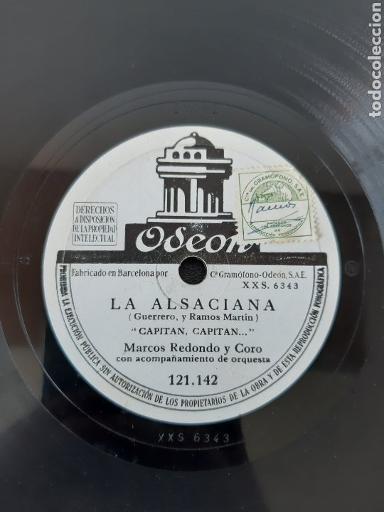 Discos de pizarra: MARCOS REDONDO Y CORO CON ACOMPAÑAMIENTO DE ORQUESTA. LA ASACIANA+1 ODEON. XXS 6413. AÑO (1930-1940) - Foto 2 - 208842760