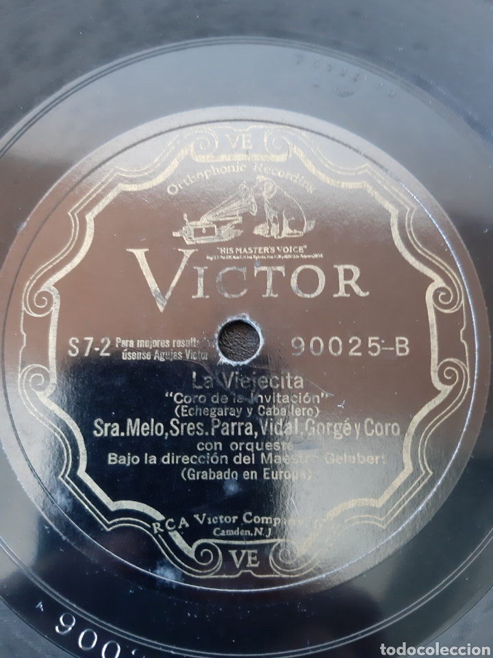 Discos de pizarra: SRA. MELO, SRES PARRA, VIDAL, GORGÉ Y CORO. LA VIEJECITA. 90025-A. RCA VICTOR. - Foto 3 - 208846892