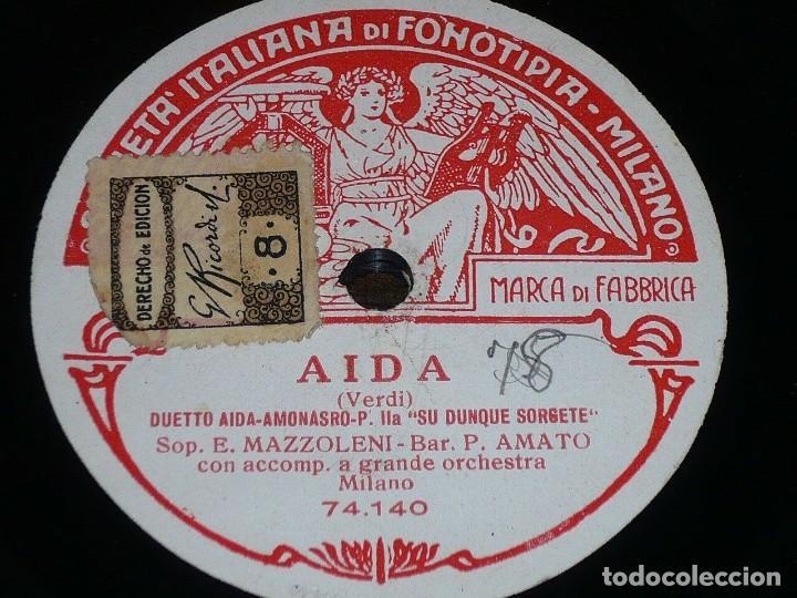 DISCO 78 RPM - FONOTIPIA - ESTER MAZZOLENI - PASQUALE AMATO - AIDA VERDI - OPERA - MILAN - PIZARRA (Música - Discos - Pizarra - Clásica, Ópera, Zarzuela y Marchas)