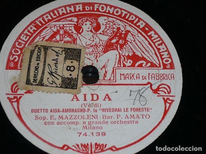 Discos de pizarra: DISCO 78 RPM - FONOTIPIA - ESTER MAZZOLENI - PASQUALE AMATO - AIDA VERDI - OPERA - MILAN - PIZARRA - Foto 2 - 208880853
