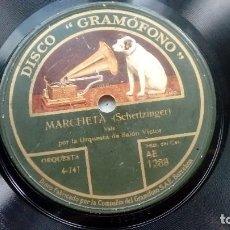 Discos de pizarra: DISCO PIZARRA MARCHETA DE CHERTZINGER Y NIGHTINGALE DE BROCKMAN DISCO GRAMOFONO. Lote 209250923