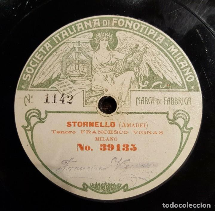 Discos de pizarra: DISCO 78 RPM - FONOTIPIA - FRANCESCO VIGNAS - TENOR - L´AFRICANA - STORNELLO - OPERA - PIZARRA - Foto 2 - 209614265
