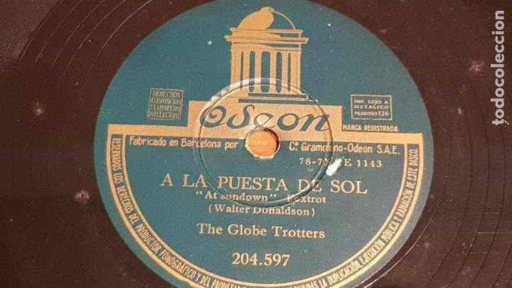 PIZARRA !! THE GLOBE TROTTERS / A LA PUESTA DE SOL - MI NOVIA SAL / ODEON - 25 CM / BUEN ESTADO (Música - Discos - Pizarra - Jazz, Blues, R&B, Soul y Gospel)