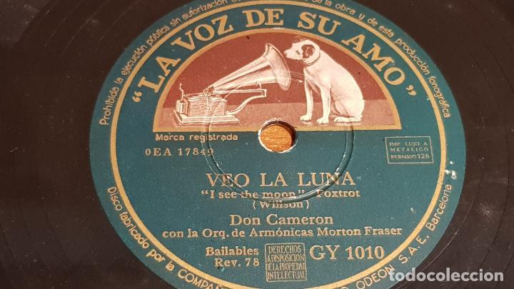 PIZARRA !! DON CAMERON CON LA ORQUESTA MORTON FRASER / VEO LA LUNA-DEMASIADO LARGO / 25 CM / LEER (Música - Discos - Pizarra - Jazz, Blues, R&B, Soul y Gospel)