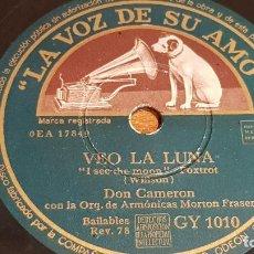 Discos de pizarra: PIZARRA !! DON CAMERON CON LA ORQUESTA MORTON FRASER / VEO LA LUNA-DEMASIADO LARGO / 25 CM / LEER. Lote 210227591