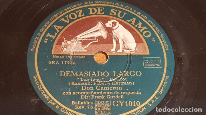 Discos de pizarra: PIZARRA !! DON CAMERON CON LA ORQUESTA MORTON FRASER / VEO LA LUNA-DEMASIADO LARGO / 25 CM / LEER - Foto 2 - 210227591