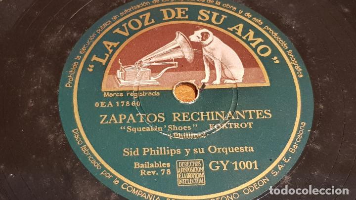 PIZARRA !! SID PHILLIPS Y SU ORQUESTA / ZAPATOS RECHINANTES - DIVISTIÉNDOSE / 25 CM / LEER (Música - Discos - Pizarra - Solistas Melódicos y Bailables)