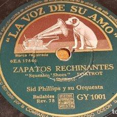 Discos de pizarra: PIZARRA !! SID PHILLIPS Y SU ORQUESTA / ZAPATOS RECHINANTES - DIVISTIÉNDOSE / 25 CM / LEER. Lote 210228322
