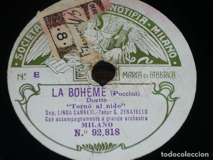 DISCO 78 RPM - FONOTIPIA - LINDA CANETTI - ZENATELLO - LA BOHEME - PUCCINI - OPERA - PIZARRA (Música - Discos - Pizarra - Clásica, Ópera, Zarzuela y Marchas)