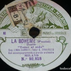 Discos de pizarra: DISCO 78 RPM - FONOTIPIA - LINDA CANETTI - ZENATELLO - LA BOHEME - PUCCINI - OPERA - PIZARRA. Lote 224456706