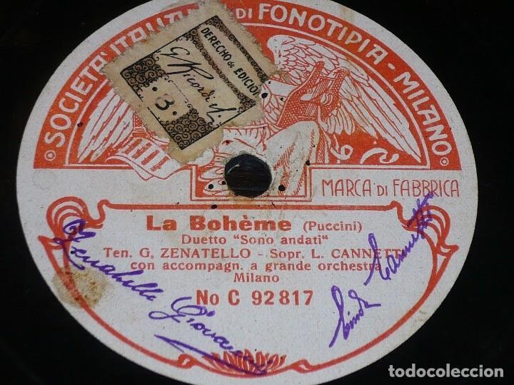 Discos de pizarra: DISCO 78 RPM - FONOTIPIA - LINDA CANETTI - ZENATELLO - LA BOHEME - PUCCINI - OPERA - PIZARRA - Foto 2 - 224456706