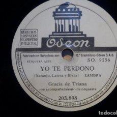 Discos de pizarra: DISCO DE PIZARRA - ODEON 203.898 - GRACIA DE TRIANA -YO TE PERDONO - LOS ADELFARES. Lote 210430188