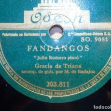 Discos de pizarra: DISCO DE PIZARRA - ODEON 203.811 - GRACIA DE TRIANA - DOLORES, LA PETENERA, FANDANGOS. Lote 210430222