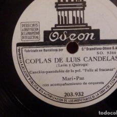 Discos de pizarra: PIZARRA ODEON 203.932 - MARI PAZ, COPLAS DE LUIS CANDELAS - ESTANIS TARÍN, CHISPERA DE MI CORAZÓN. Lote 210430293