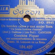Discos de pizarra: PIZARRA ODEON 184.437 - CONCHITA PIQUER - UN HOMBRE CANTA Y UNA MUJER LLORA - CARCELERAS DEL PUERTO. Lote 210430961