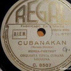 Discos de pizarra: PIZARRA REGAL C.8507 - ORQUESTA TÍPICA CUBANA - RUMBA AZUL - CUBANAKAN. Lote 210459307