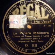 Discos de pizarra: PIZARRA REGAL RS.909 - ORQUESTA DEL TEATRO APOLO - LA PÍCARA MOLINERA. Lote 210465626