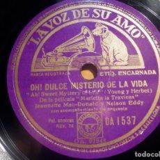 Discos de pizarra: LA VOZ DE SU AMO DA 1537 - PELICULA ROSE MARIE - INDIAN LOVE CALL - A SWEET MISTERY OF LIFE -. Lote 210468711
