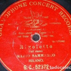Discos de pizarra: DISCO 78 RPM - G&T RED - MARIO SAMMARCO - PARI SIAMO - RIGOLETTO - VERDI - OPERA - PIZARRA. Lote 210470377