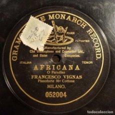 Discos de pizarra: DISCO 78 RPM - G&T BLACK - FRANCESCO VIGNAS - AFRICANA - O PARADISO - OPERA - RARO - PIZARRA. Lote 210471167