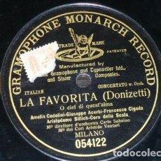 Discos de pizarra: DISCO 78 RPM - G&T BLACK - CODOLIDI - ACERBI - CIGADA - LA FAVORITA - DONIZETTI - OPERA - PIZARRA. Lote 210471896