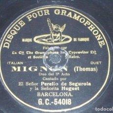 Discos de pizarra: DISCO 78 RPM - G&T BLACK - PERELLO DE SEGUROLA - HUGUET - DUO - MIGNON - THOMAS - OPERA - PIZARRA. Lote 210472733
