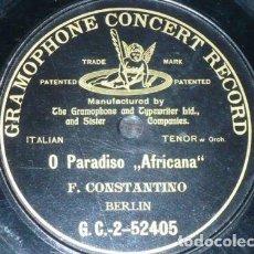 Discos de pizarra: DISCO 78 RPM - G&T BLACK - FLORENCIO CONSTANTINO - O PARADISO - AFRICANA - MEYERBEER - PIZARRA. Lote 210473387