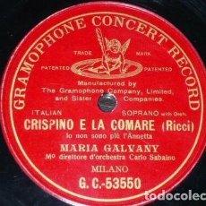 Discos de pizarra: DISCO 78 RPM - PREDOG GCR RED - MARIA GALVANY - CRISPINO E LA COMARE - RICCI - OPERA - PIZARRA. Lote 210474277