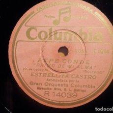 Discos de pizarra: PIZARRA COLUMBIA R 14039 - ESTRELLITA CASTRO - PEPE CONDE, COPLAS DEL ESPARTERO, PRIMO DE MI ALMA. Lote 210558715