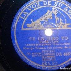 Discos de pizarra: PIZARRA LA VOZ DE SU AMO DA 4337 - MARUJA TOMÁS - TE LO JURO YO, ¡ AY CHUMBERA! - ROSA DE AFRICA. Lote 210562623
