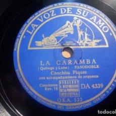 Discos de pizarra: PIZARRA LA VOZ DE SU AMO DA 4339 - CONCHITA PIQUER - NO ME LLAMES DOLORES, LA CARAMBA. Lote 210563795