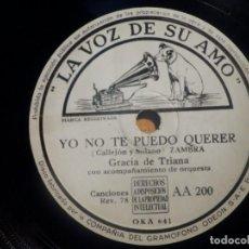 Discos de pizarra: PIZARRA LA VOZ DE SU AMO AA 200 - GRACIA DE TRIANA - YO NO TE PUEDO QUERER, RINCÓN DE ESPAÑA. Lote 210564475